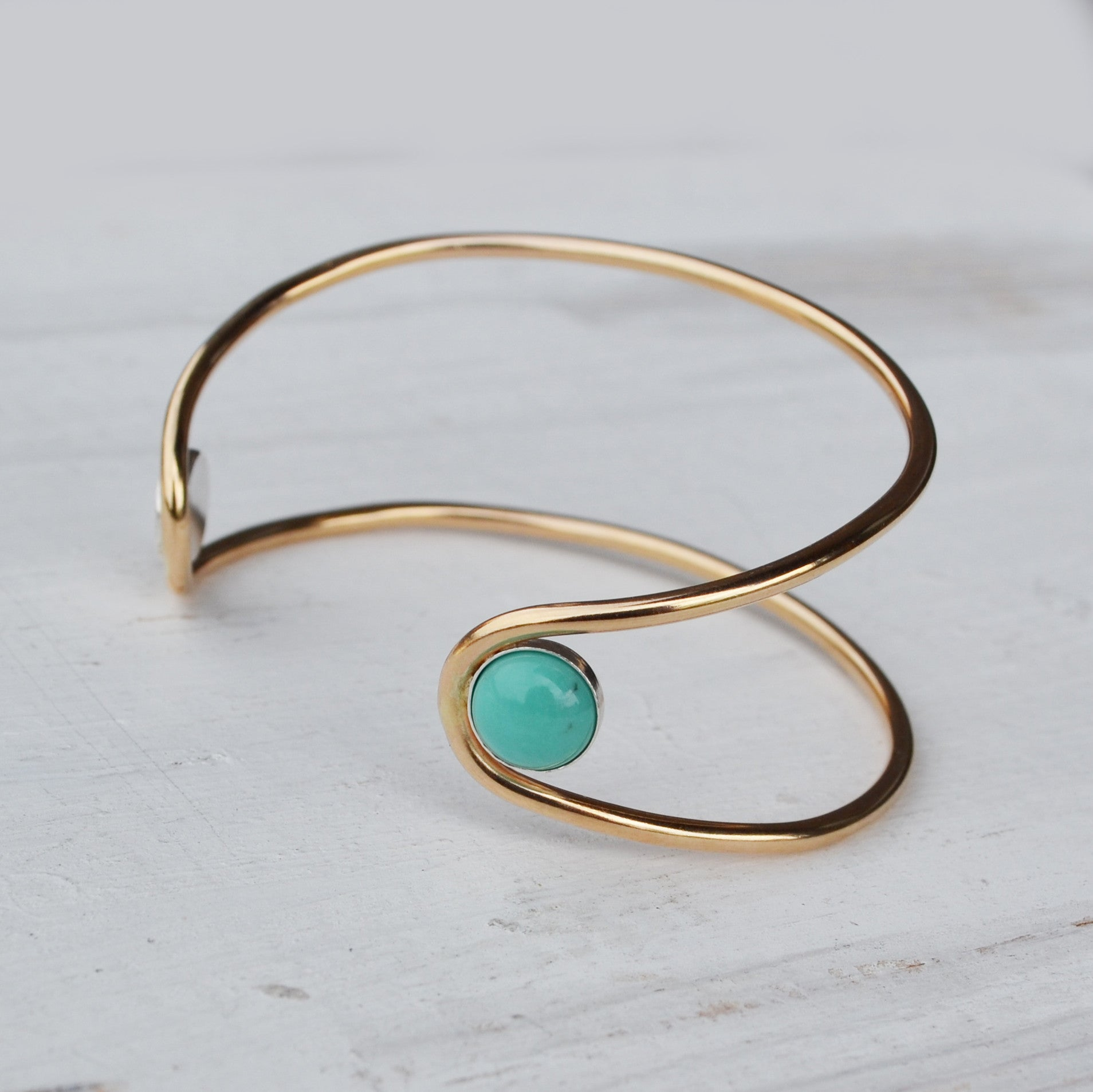 Double Orbit Bracelet, Turquoise, Gold or Silver