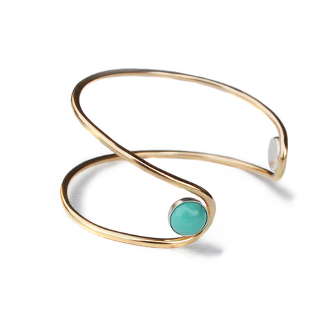 Double Orbit Bracelet, Turquoise, Gold Filled or Sterling Silver