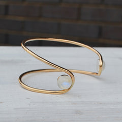 Double Orbit Bracelet in Moonstone and Gold Fill