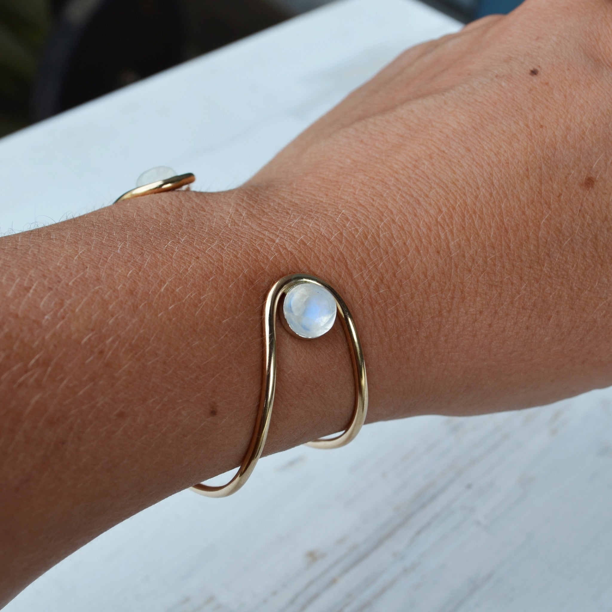 Double Orbit Bracelet, Moonstone, Gold or Silver