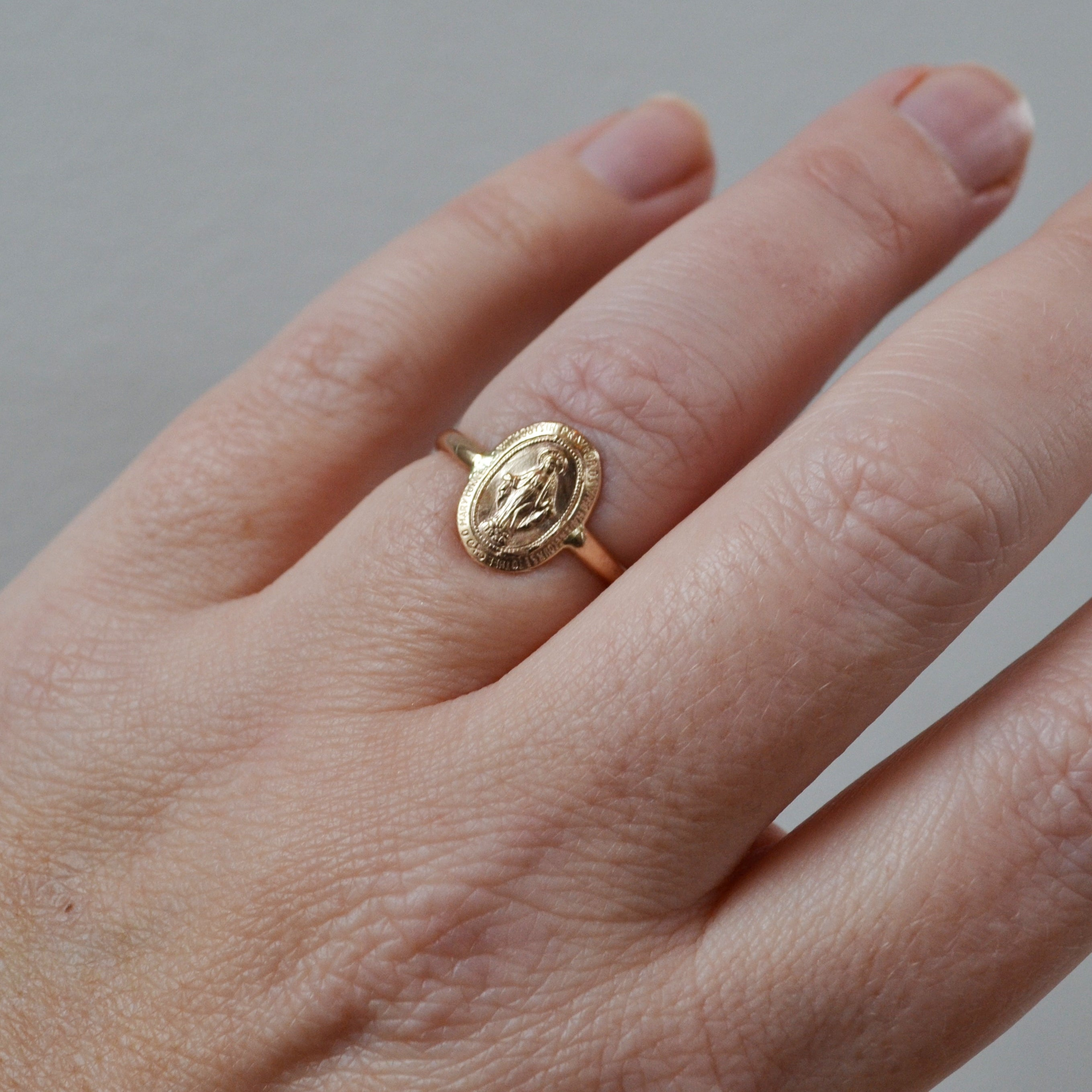 Small Virgin Mary Ring, Gold or Silver