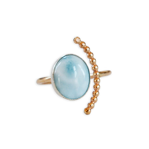 Larimar Half Moon Ring, Gold or Silver