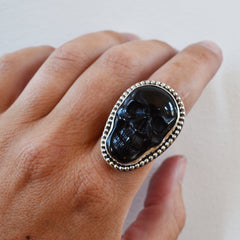 Black Carved Skull Ring