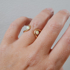 Double Orbit Opal Ring, Gold or Silver