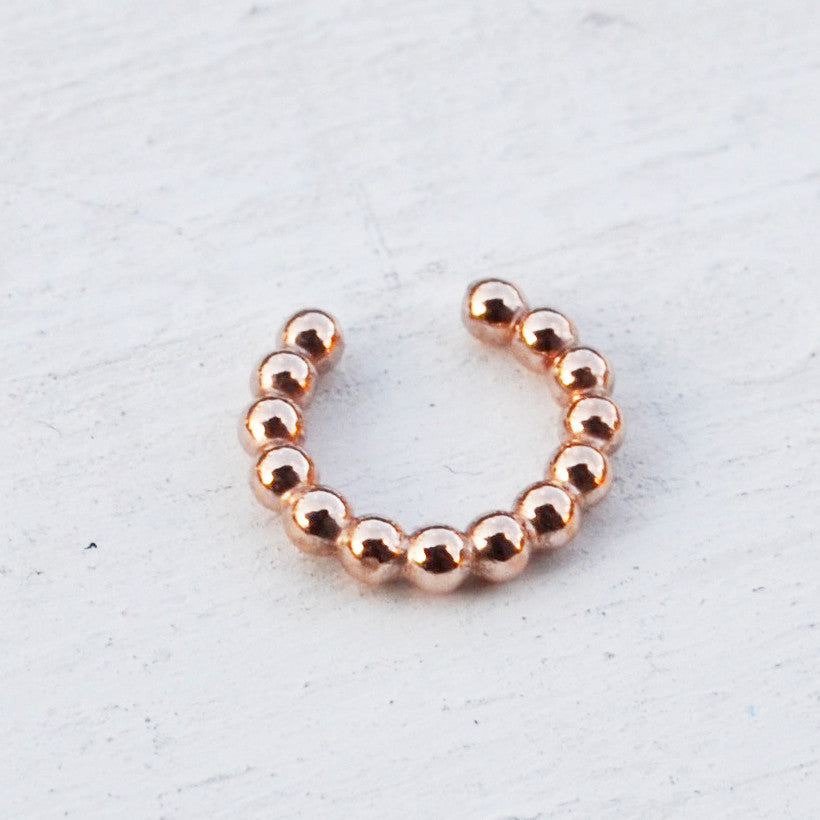Beaded Faux Lip/Septum Ring, Gold, Rose Gold, and Silver