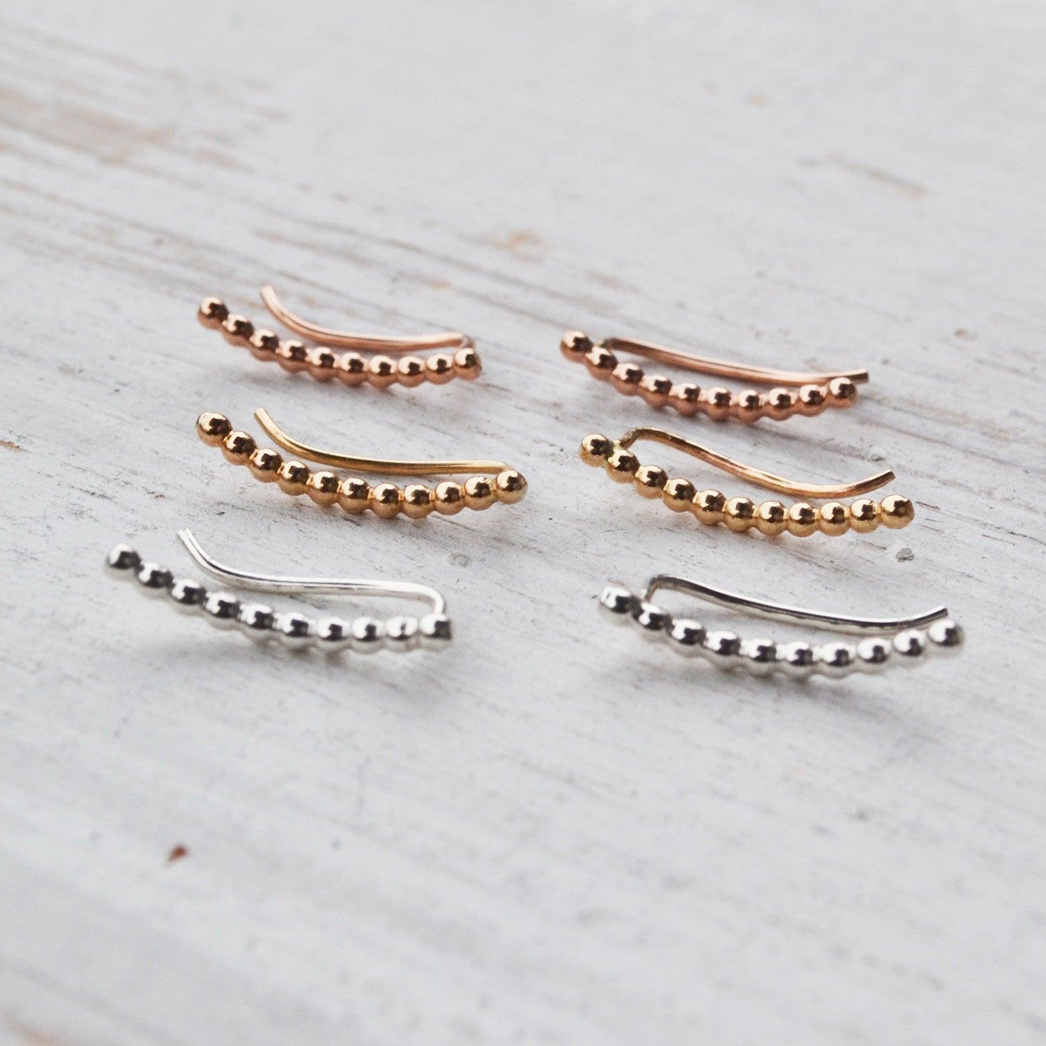Mini Beaded Ear Climbers, Gold, Rose Gold, or Silver