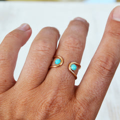 Double Orbit Turquoise Ring, Gold or Silver