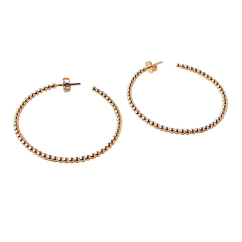Beaded Hoop Earrings, Gold, Rose Gold, or Silver
