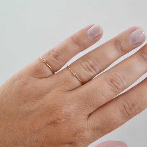 Tiny Stone Ring, Gold or Rose Gold