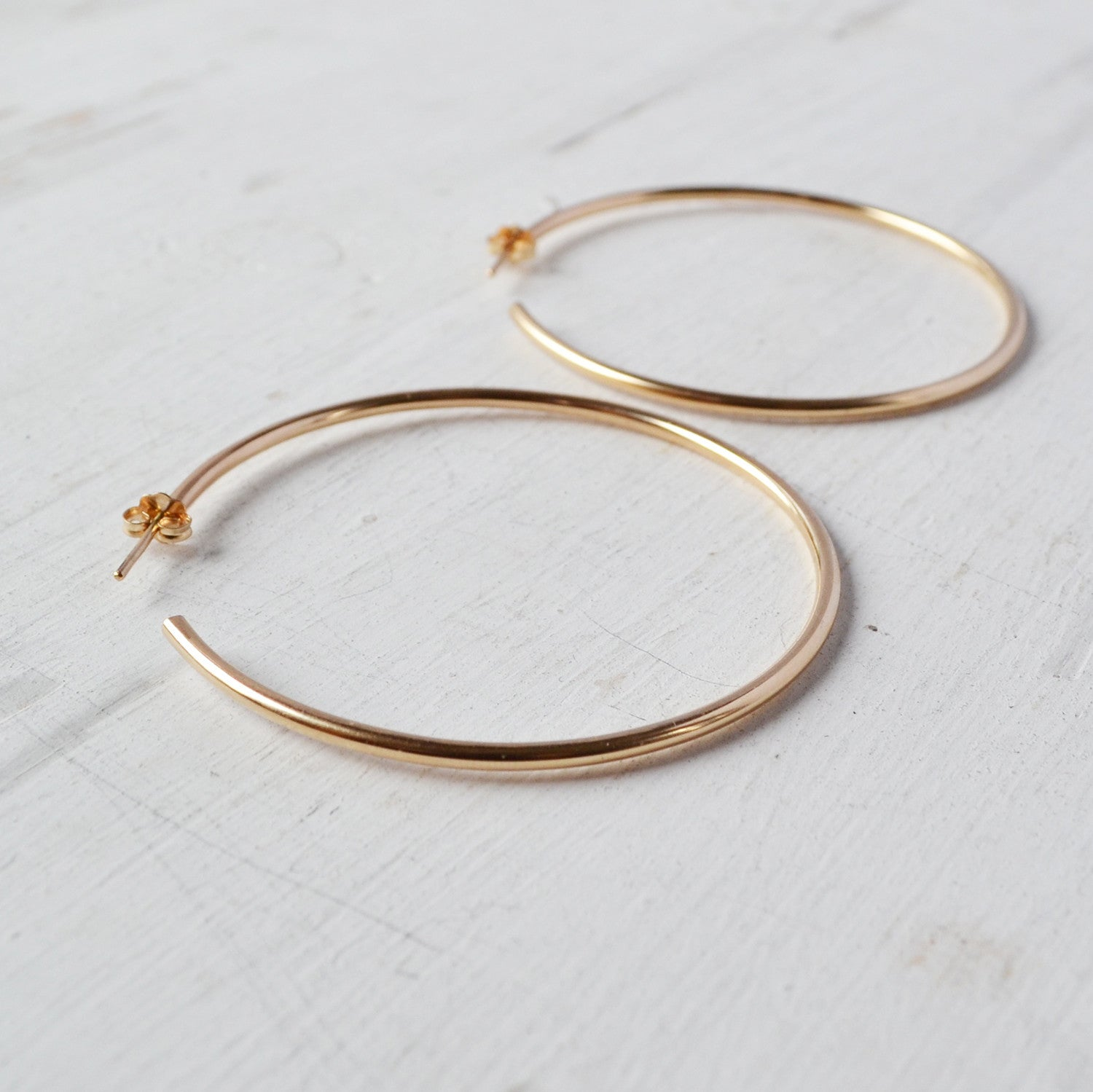 Classic Hoop Earrings, Gold, Rose Gold, or Silver