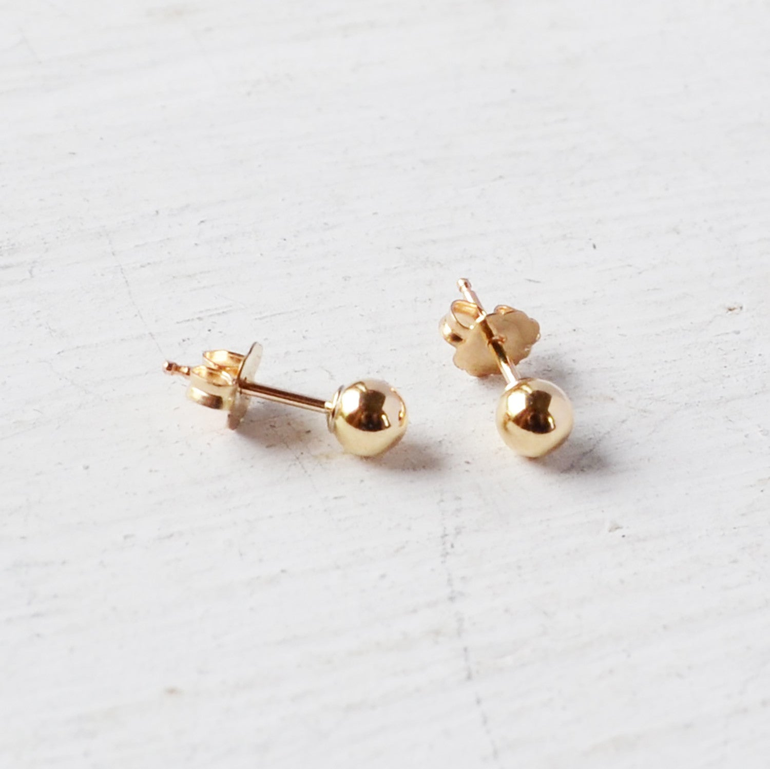 Small Ball Post Earrings, Gold or Silver
