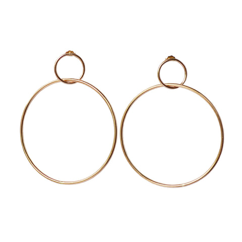 Double Hoop Earrings, Gold, Rose Gold, or Silver