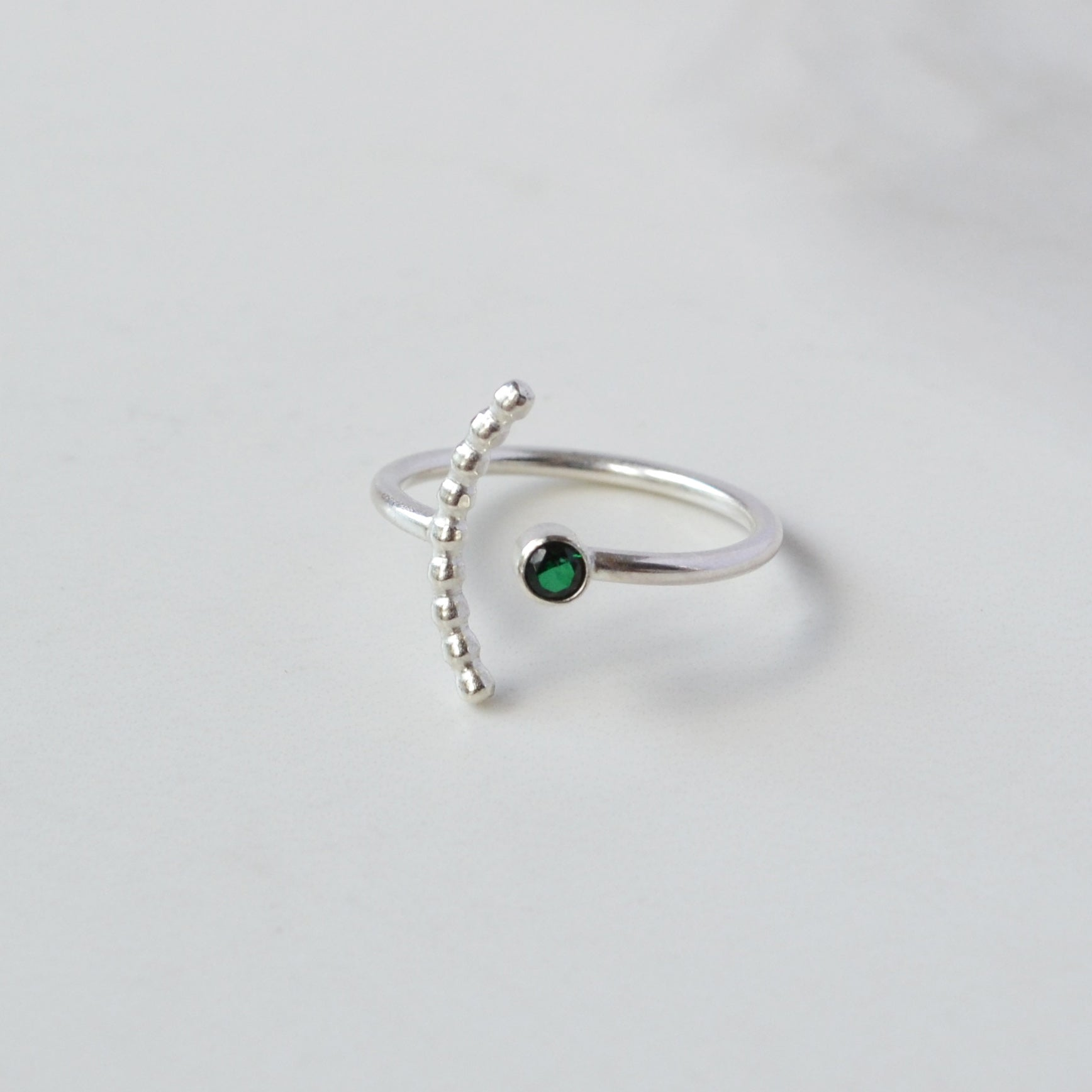 Gemstone Arc Ring, Emerald