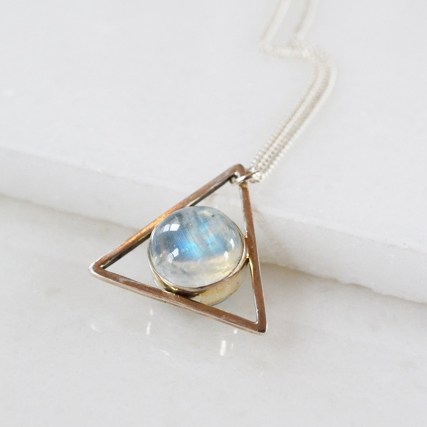 Two Faced Larimar and Moonstone Necklace
