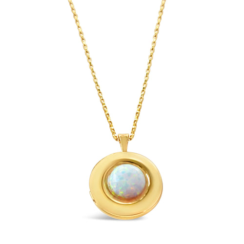 Mini Locket Necklace - Opal