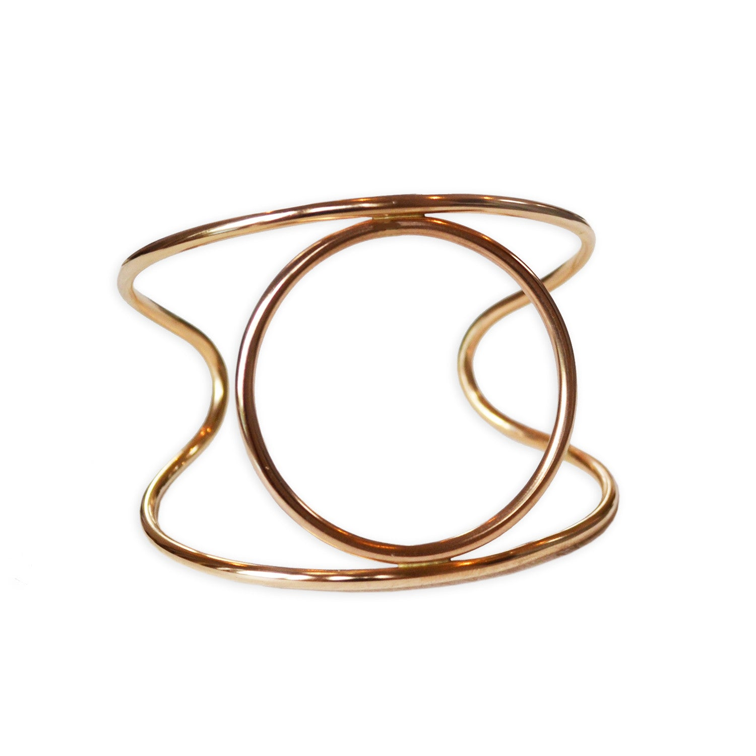 Atomic Circle Cuff Bracelet, Gold Filled or Sterling Silver
