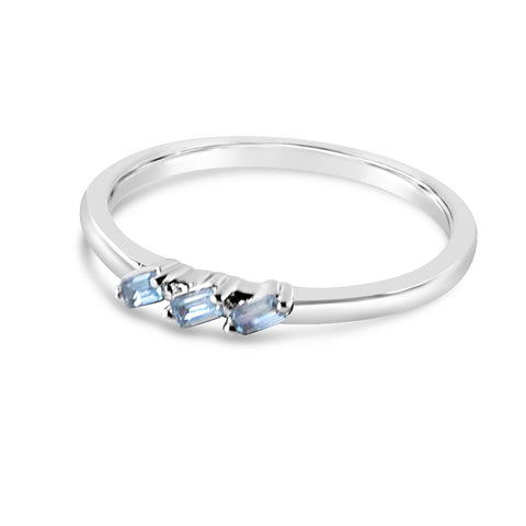 Baguette Curve Ring- Rhodium