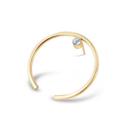 Gemstone Circle Ear Cuff, Gold or Silver