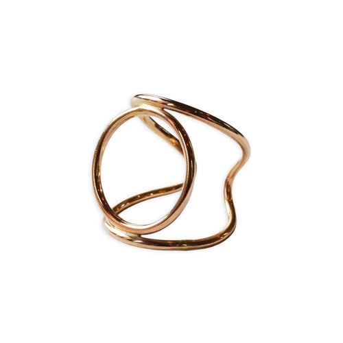 Atomic Circle Cuff Ring, Gold or Sterling Silver