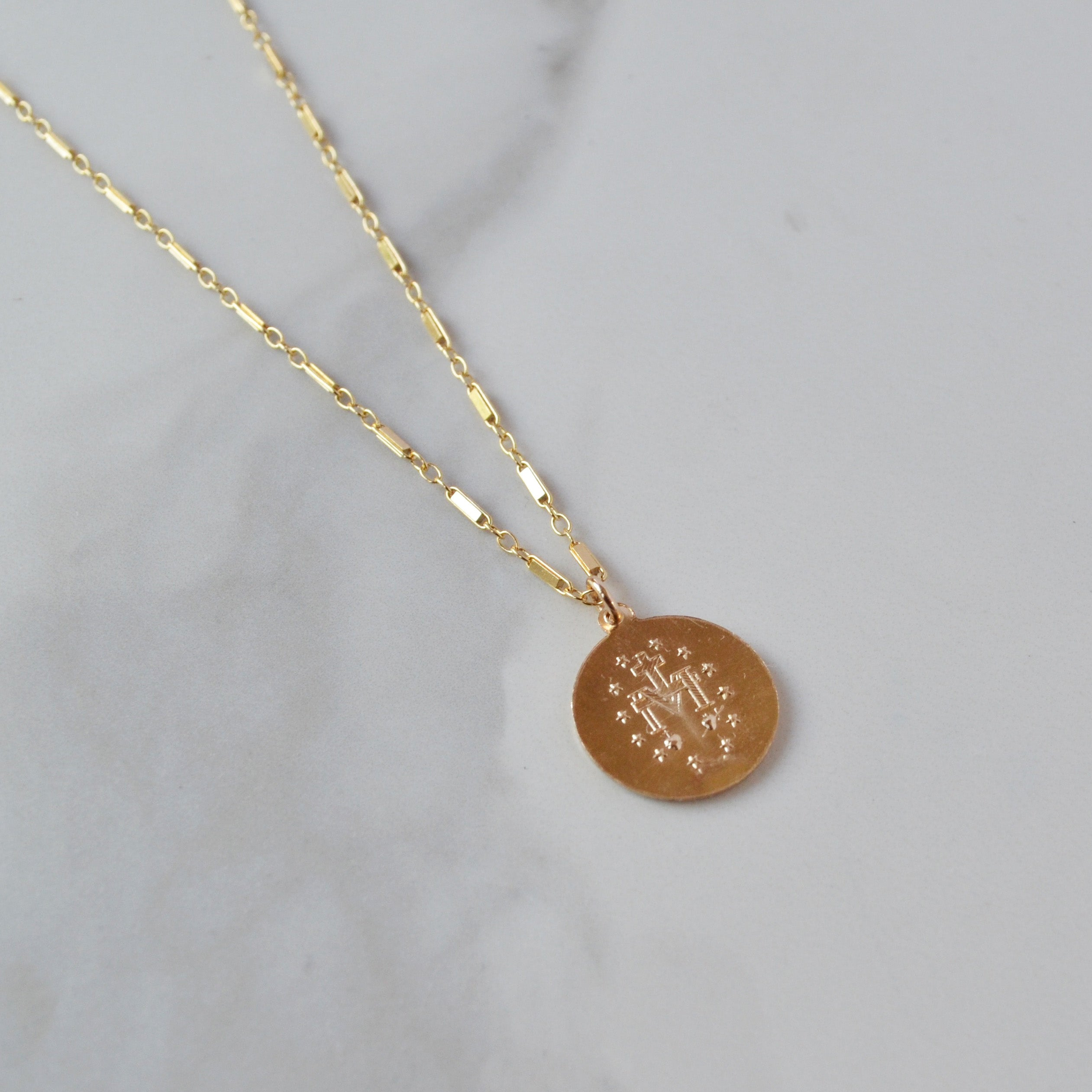 Mother Mary Coin Necklace, Gold or Silver