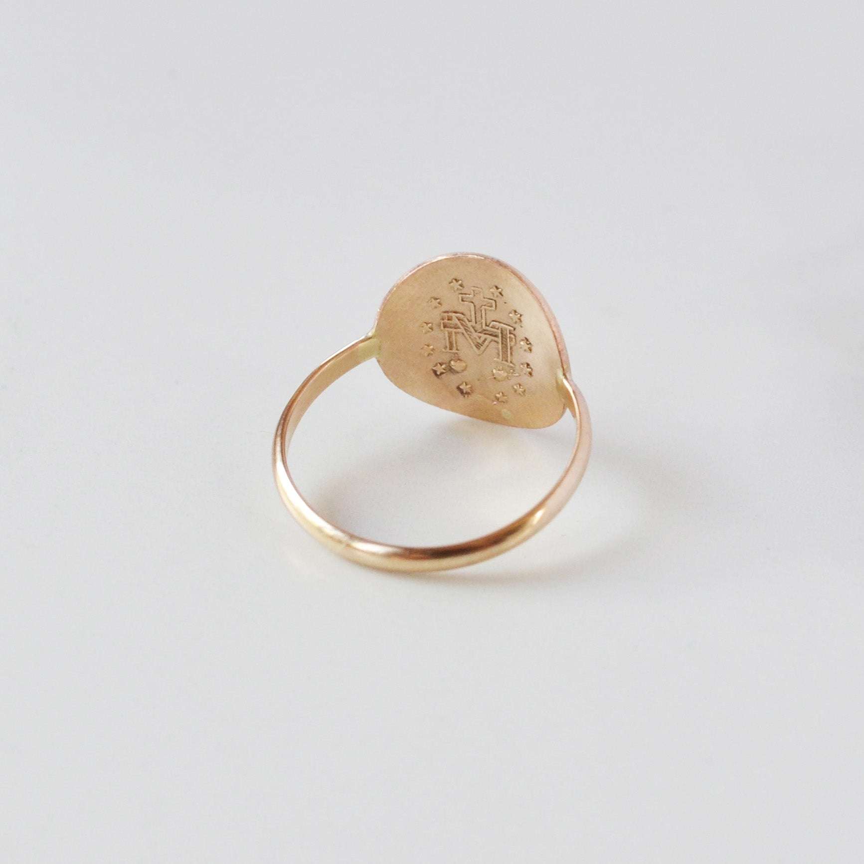 Mother Mary Coin Ring Gold Back