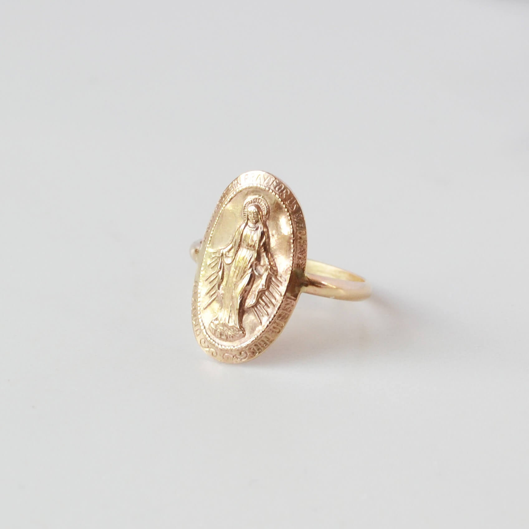 Virgin Mary Ring gold filled front