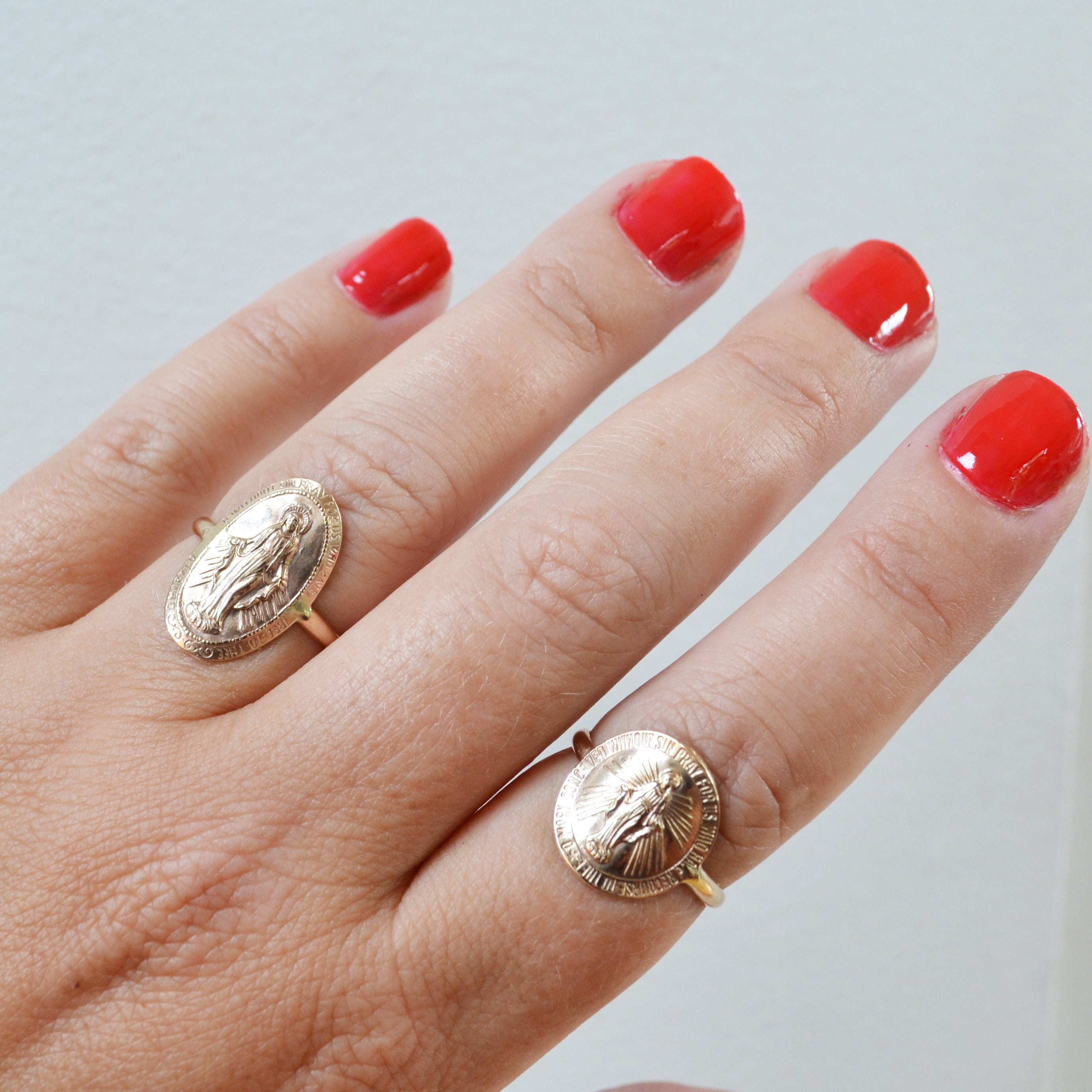 Mother Mary Coin Ring, Gold or Silver