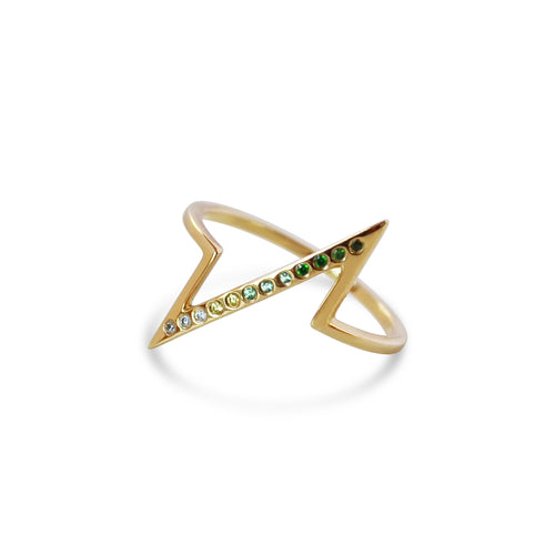 Gemstone Breakline Ring, Gold or Silver