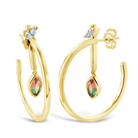 Marquise Dangle Hoops - Mother of Pearl