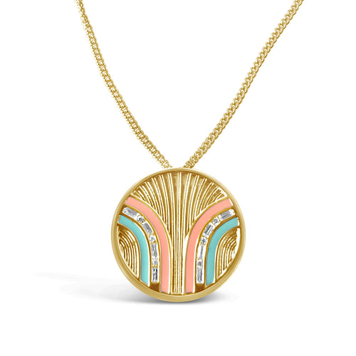 South Beach Coin Necklace - Coral/Mint