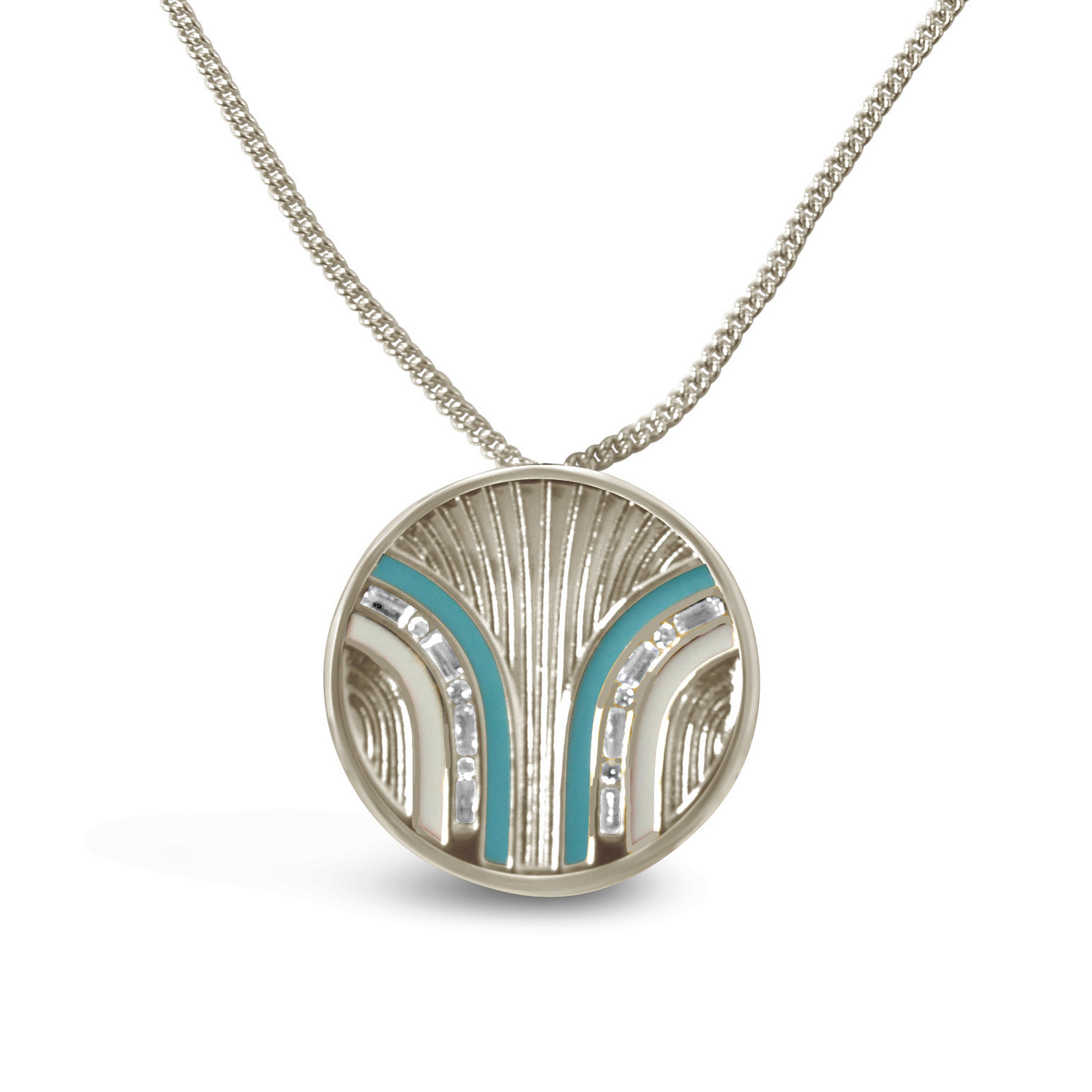 South Beach Coin Necklace - Turquoise/White