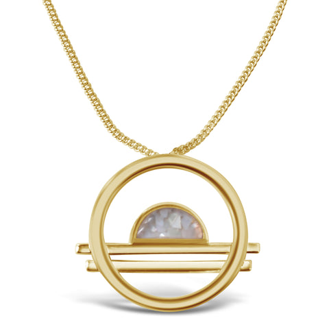 Delano Bolo Necklace - Gold/Blue Opal