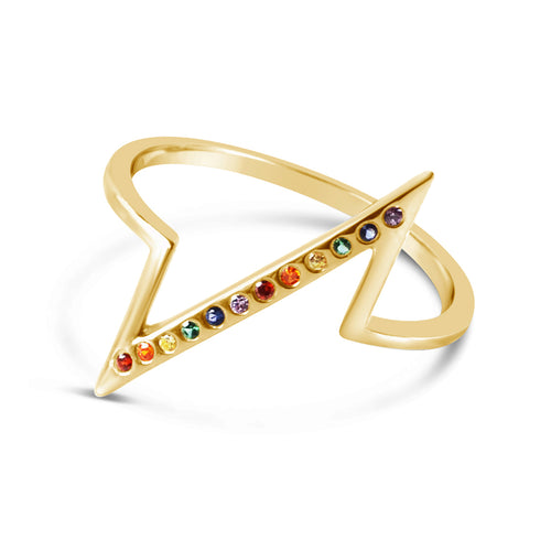 Rainbow Breakline Ring, Gold or Silver