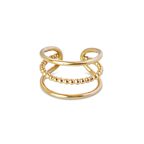 Bead Between the Lines Ring, Gold or Silver