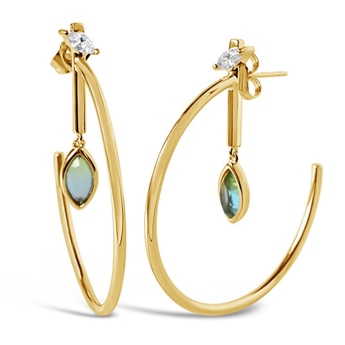 Marquise Dangle Hoops - Ocean Quartz