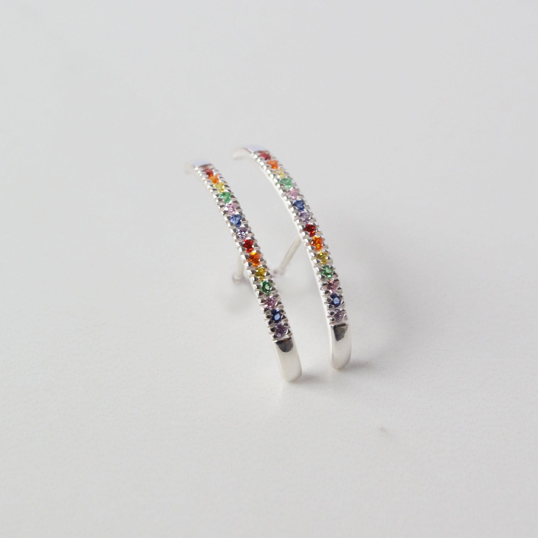 Rainbow Pavé Suspension Hoop, Gold or Silver
