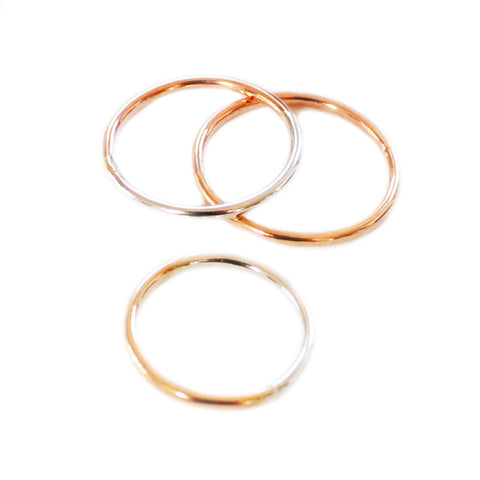 Beaded Curve Rings, Gold or Silver