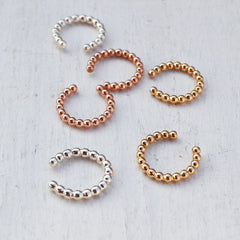 Beaded Ear Cuff, Gold, Rose Gold, or Silver