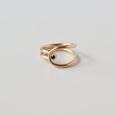 Double Moonstone Convex Ring, Silver or Gold