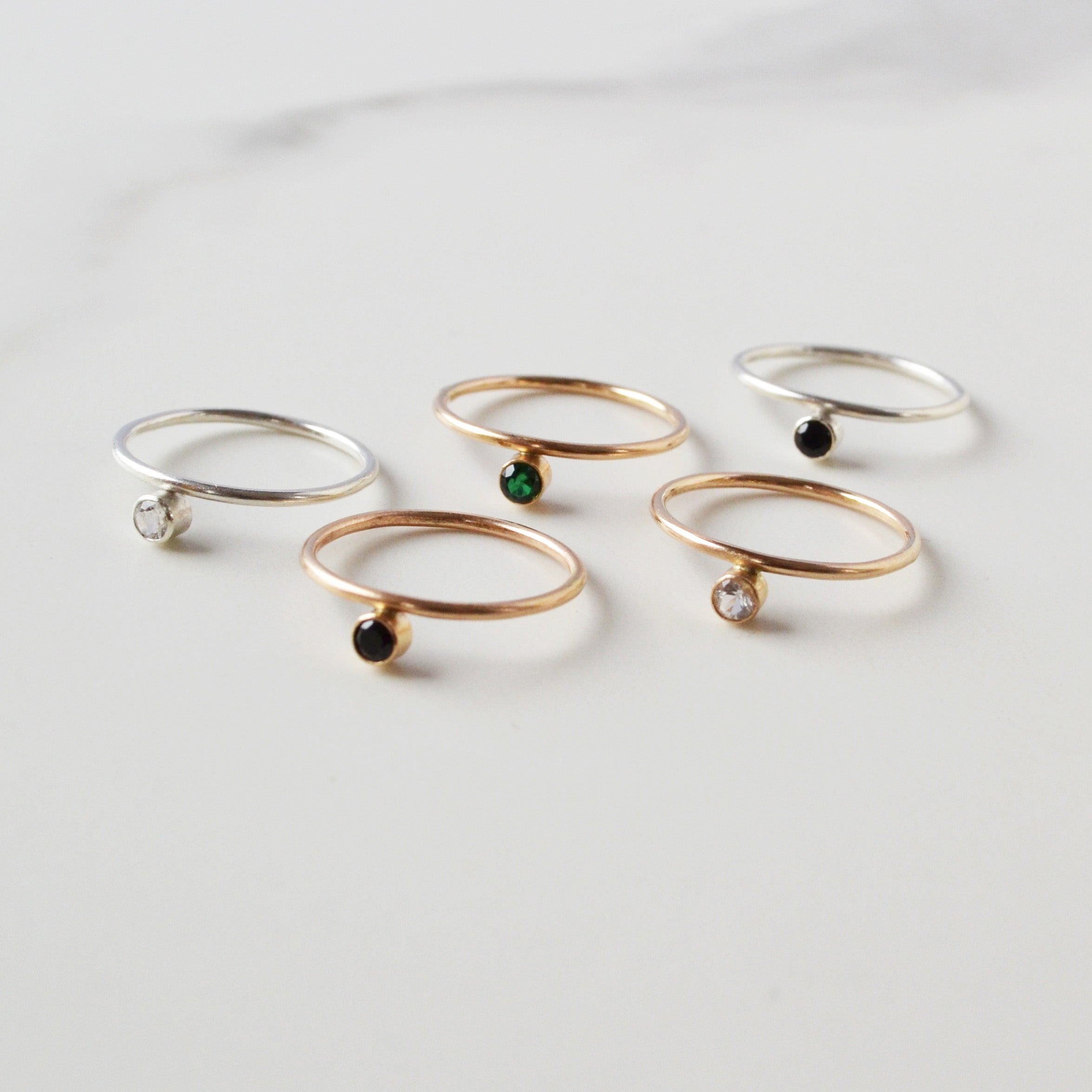 Offset Gemstone Stacking Ring, Gold or Silver