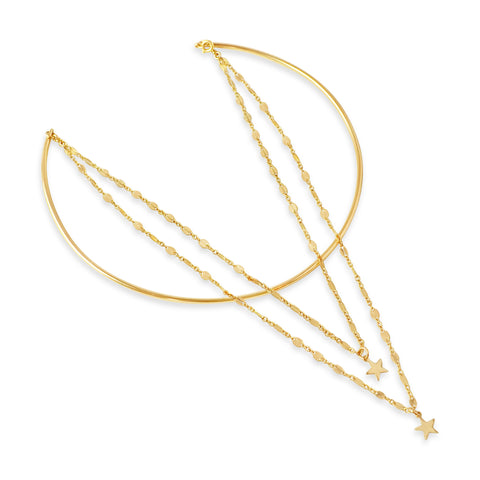 Triple Strand Choker, Gold or Silver