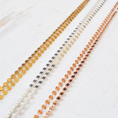 Disco Layering Necklace, Gold, Rose Gold, or Sterling Silver