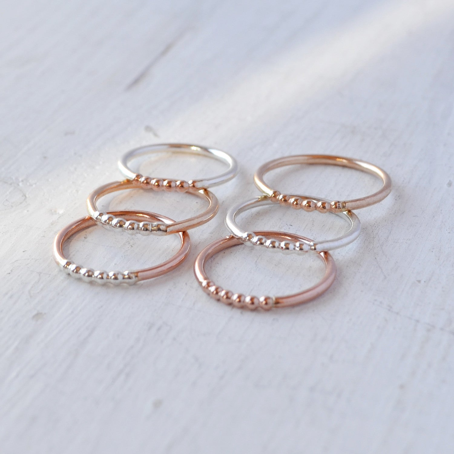 Beaded Accent Ring, Gold, Rose Gold, or Sterling Silver