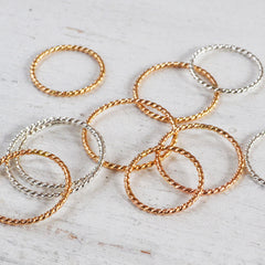 Glitter Stacking Ring, Gold or Silver