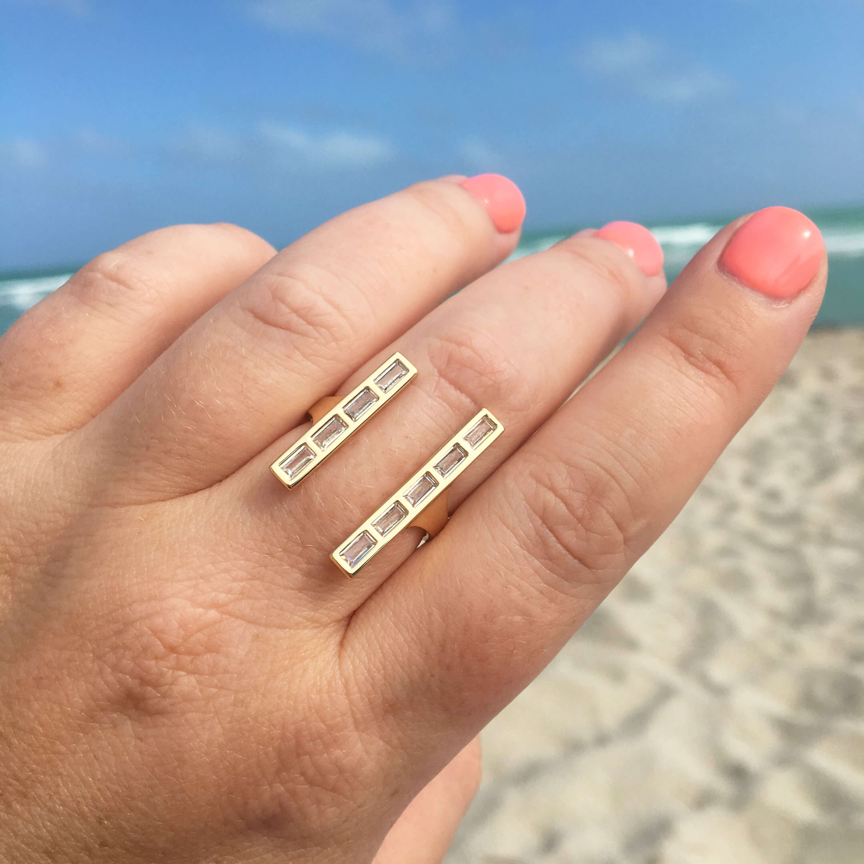 Baguette Double Bar Ring
