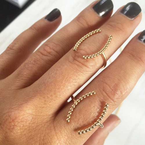 Beaded Arc Ring, Gold or Silver