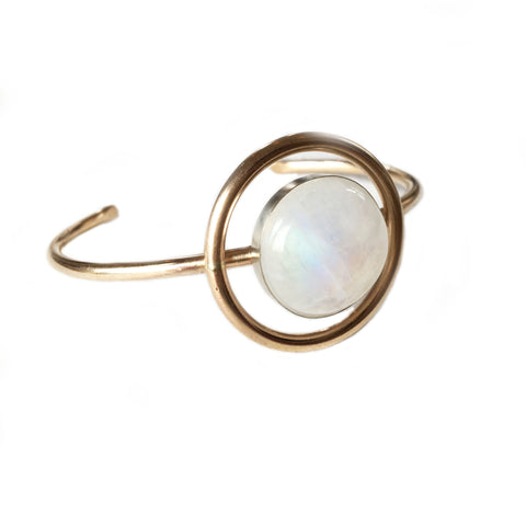 Mayan Eye Moonstone Bracelet, Gold or Silver