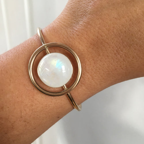 Moonstone Circle Cuff Bracelet, Gold or Silver