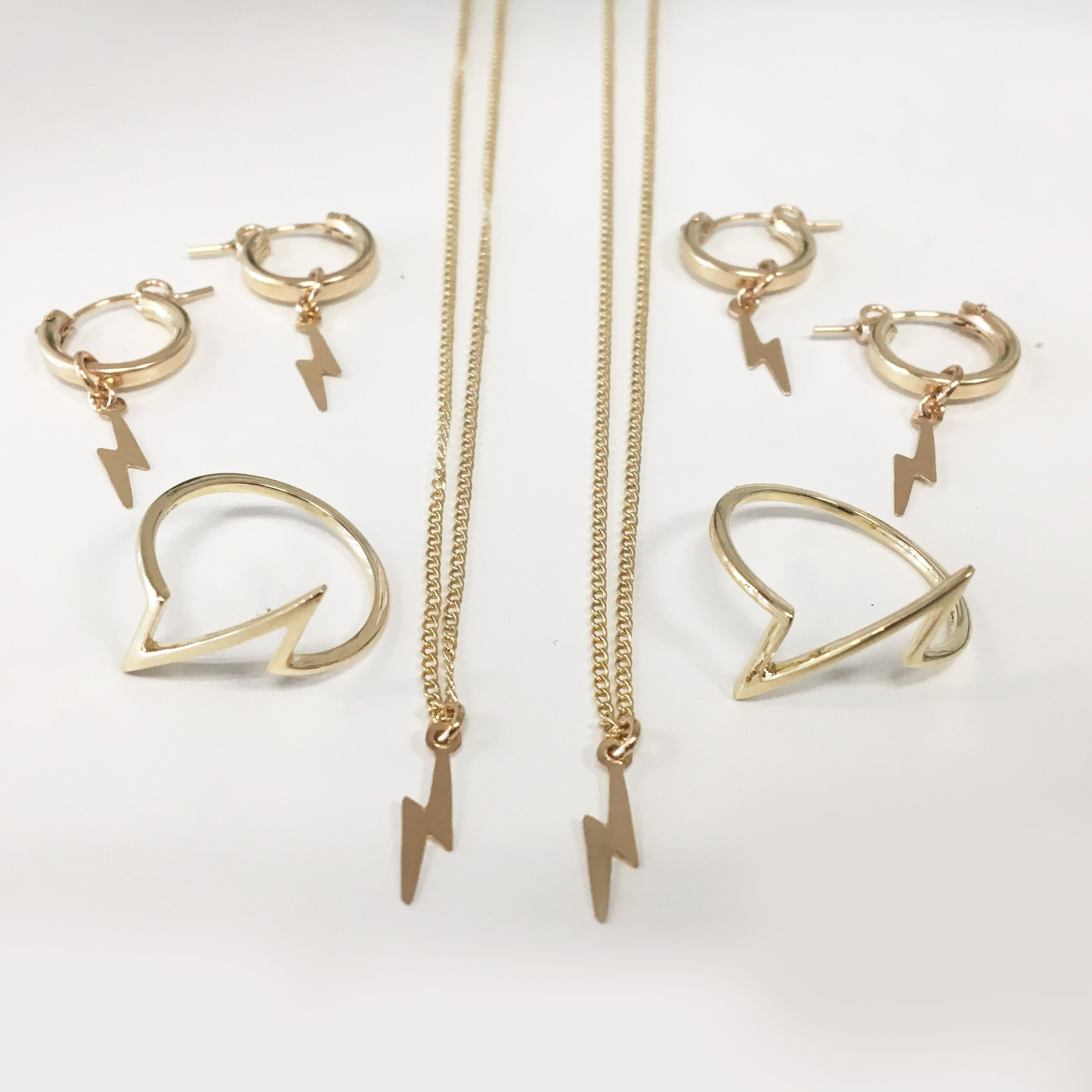 Lightning Bolt Hoop Earrings, Gold or Silver
