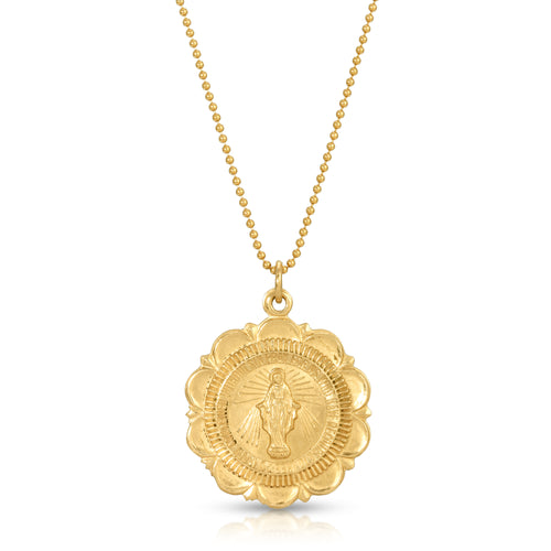 Mary Medallion Necklace, Gold
